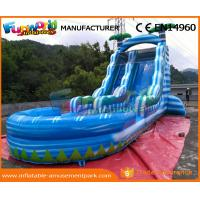 Wholesale 0.55mm PVC Tarpaulin Commercial Inflatable Slide Blue Palm Tree Slide With Pool from china suppliers