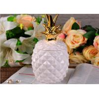 Quality White Ceramic Candle Holder Modern Candle Holders Unique Pine Apple Shaped for sale