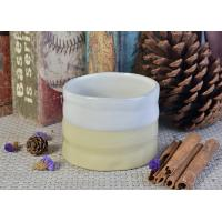 Quality Off white Cylinder ceramic candle jar soy wax scented candles decoration for sale