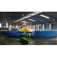 China Giant Inflatable Water park Suit with White Shark Water Slide and float toys on sale