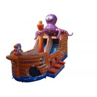 Wholesale Brown Octopus Inflatable Assault Course Ship , Blow Up Obstacle Course With Slide from china suppliers