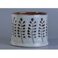 Wholesale 12 Oz Transmutation Glazed Ceramic Candle Holder Hand Painted Flower Design from china suppliers