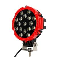 China 51W 7 Red Flood Round LED Work Light Off-road Fog Driving Roof Bumper for SUV Boat Jeep Lamp on sale