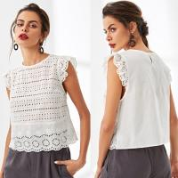 Wholesale Summer latest women white blouse styles with petal sleeve from china suppliers