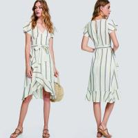 Wholesale lady fashion and casual striped dress from china suppliers