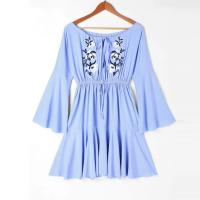 Wholesale Blue Off Shoulder Mexican Embroidery Beach Casual Dress Women from china suppliers
