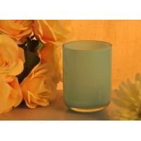 Quality Pillar Wax Glass Blue Candle Holder Wedding Party Empty Candle Jar for sale