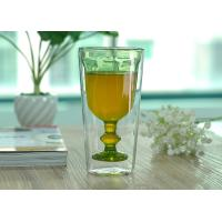 Wholesale Creative Handmade Stemware Double Wall Wine Glasses Light Green Colored from china suppliers