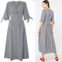 Wholesale Black and White Gingham Midi Dress Summer Ladies from china suppliers