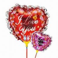 Wholesale 14-inch Heart-shaped Balloon with Bowknot/Cup Stick, Made of Nylon Aluminum/PE, Two Colors Available from china suppliers
