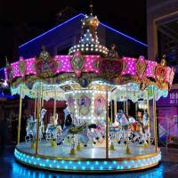 Wholesale Fiberglass Colorful Horse Carousel Ride , Toddler Carousel Ride 16 Seats from china suppliers