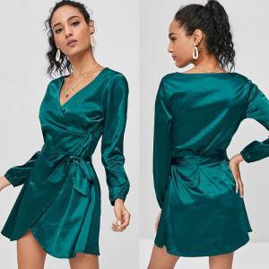 Wholesale 2018 Fashion Fall Clothing Women Satin Wrap Dress Long Sleeve Mini from china suppliers