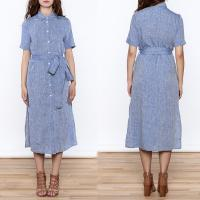 Wholesale Women Casual Button Down Solid Midi Linen Dresses ladies from china suppliers
