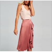 High waist pleated pink 3/4 umbrella skirt