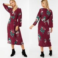 Wholesale Summer Women Hot Sale Clothes Long Sleeve Print Wrap Maxi Dress Beach Women from china suppliers