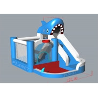 China Oxford Kids Home Use Inflatable Water Slide Shark Shape Jumping Bouncy Castle With Pool on sale
