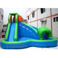 6 x 6m Green Inflatable Kids Water Slides 0.55mm PVC Tarpaulin With Pool