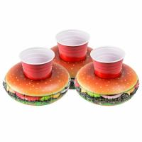 Wholesale PVC Cheeseburger Party Tube Inflatable Drink Holder Giant Size Hamburger Pool Float from china suppliers