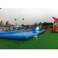 China Blue Large Inflatable Kids Swimming Pool With Slide For Inground Pools on sale