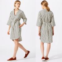 Wholesale New Design Relaxed Fit Deep V-neckline Stripe Linen Dress for Woman from china suppliers