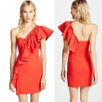 Wholesale Ruffle Shoulder Ladies Dress Bodycon Mini from china suppliers