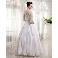 Quality Women Queen Anne Neckline Wedding Dresses Beaded / A line Wedding Gowns with for sale