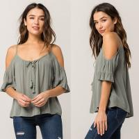 Wholesale Women Cold Shoulder V Neck Rayon Blouse from china suppliers