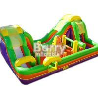 China Outdoor Inflatable Bouncy Obstacle Course Combo Slide With Small Climbing Wall on sale
