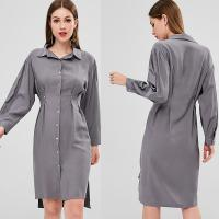 Wholesale Fall Clothing Womens Midi Double Slit Shirt Dress Long Sleeve from china suppliers