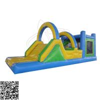 Yellow Green Blue Inflatable Bounce House Obstacle Combo Slide For Sport Games