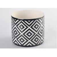Wholesale Round square pattern Ceramic Candle Holder for table decorations , decal white inside from china suppliers
