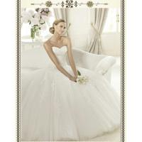 Quality Modern Strapless Ball Gown Sweetheart Lace Wedding Dress for Summer , Spring for sale