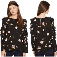 Wholesale Fall Clothing W Ruffle Long Sleeve Detail Black Blouse Floral Ladies Tops from china suppliers