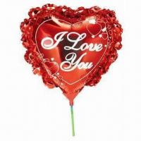 Wholesale 14-inch Heart Shaped Balloon with Bowknot and Cup Stick, Made of Nylon Aluminum and PE from china suppliers