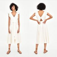 Wholesale Elegant white linen maxi woman dress with bow from china suppliers