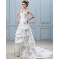 Quality Summer capped sleeve heart shaped layered wedding dresses with sweep train , for sale