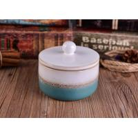 Wholesale Heat Durable Ceramic Candle Container Sets With Lid , Hand Made Craft from china suppliers