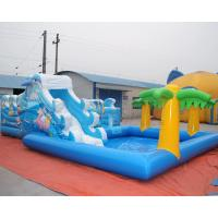 Wholesale Sea world inflatable bouncy castle with water slide and palm tree swimming pool from china suppliers