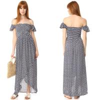 Wholesale Clothes Woman Printed Off Shoulder Rayon Bohemian Maxi Dress from china suppliers