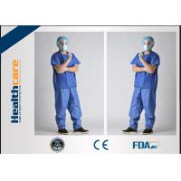 China SPP Disposable Scrub Scrubs Anti Blood Short Sleeve Uniforms With Pocket on sale
