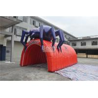 Waterproof PVC Red Cool Spider Design Giant Inflatable Football Tunnel , Inflatable Tunnel Tent