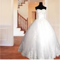 Wholesale Spring Lace flower Ball Gown Wedding dress / halter Strapless wedding gowns from china suppliers