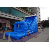 Summer Season Blue Commercial Inflatable Slides With Pool And Slip N Slide