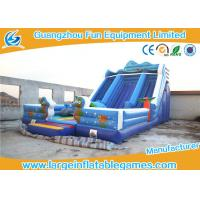 Wholesale Happy Hop Blue Inflatable Dry Slide , Inflatable Double Slip And Slide With Pool from china suppliers