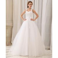 Quality Diamond Lace around the neck Wedding Dresses Summer Halter bridal wedding Gowns for sale