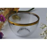 Wholesale 7oz High White Glass Candle Bowl Tealight Holder with Golden Rim from china suppliers