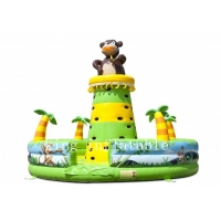 Wholesale Jungle Theme Monkey Inflatable Climbing Tower Wall With Trees from china suppliers
