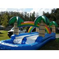 China Tropical 34ft Long Inflatable Water Slides Rentals With Large Pool on sale
