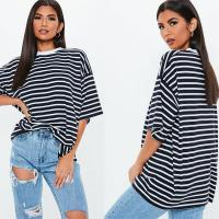 Wholesale Oversized Custom Stripe Drop Shoulder T Shirt Printing from china suppliers