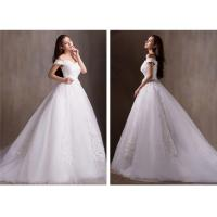 Wholesale Sexy V Neck Off Shoulder Beaded Sweetheart Lace Wedding Dress with Long train from china suppliers